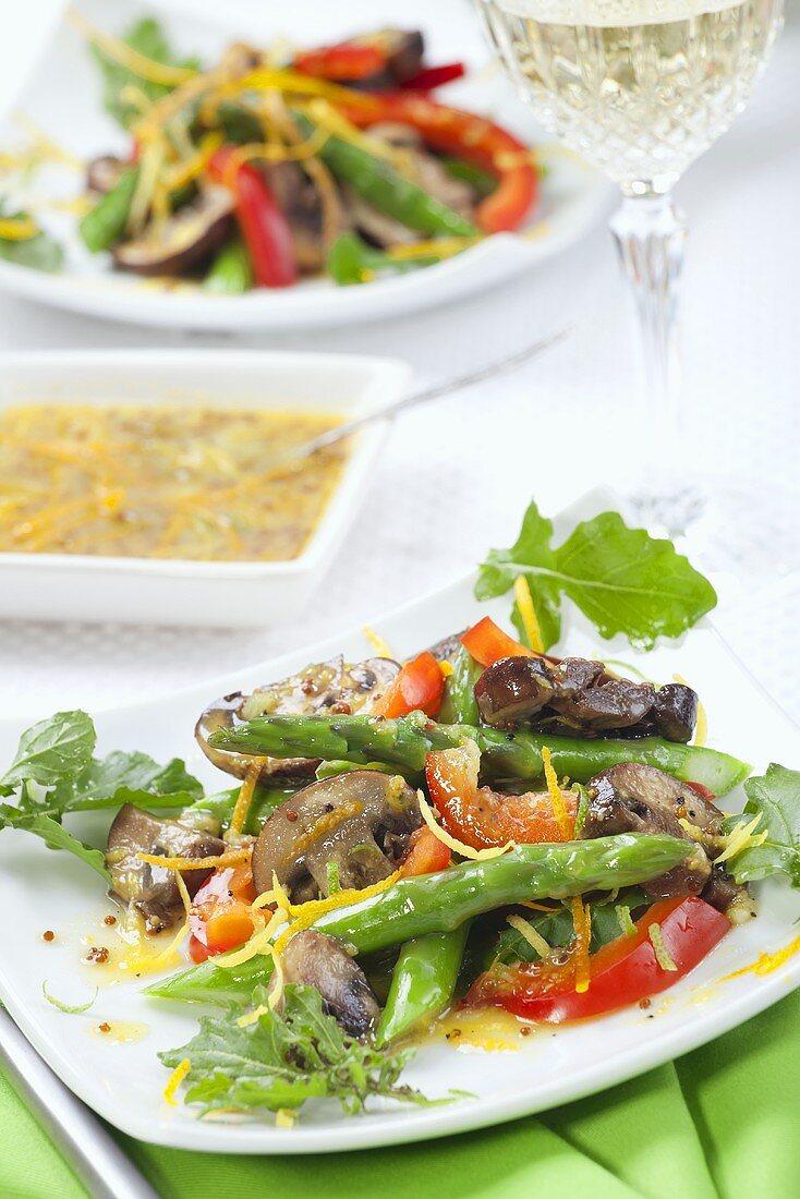 Asparagus & Mushroom Salad with Mustard & Orange Dressing