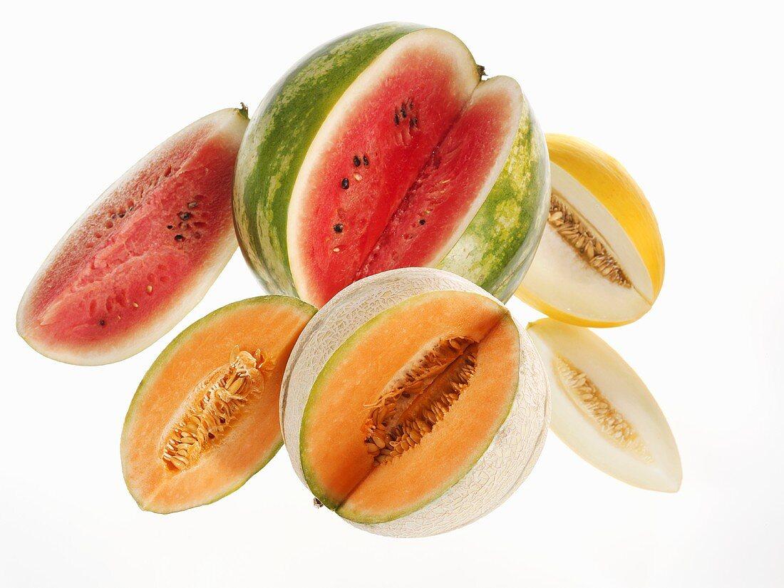 Watermelon, honeydew melon and charentais melon