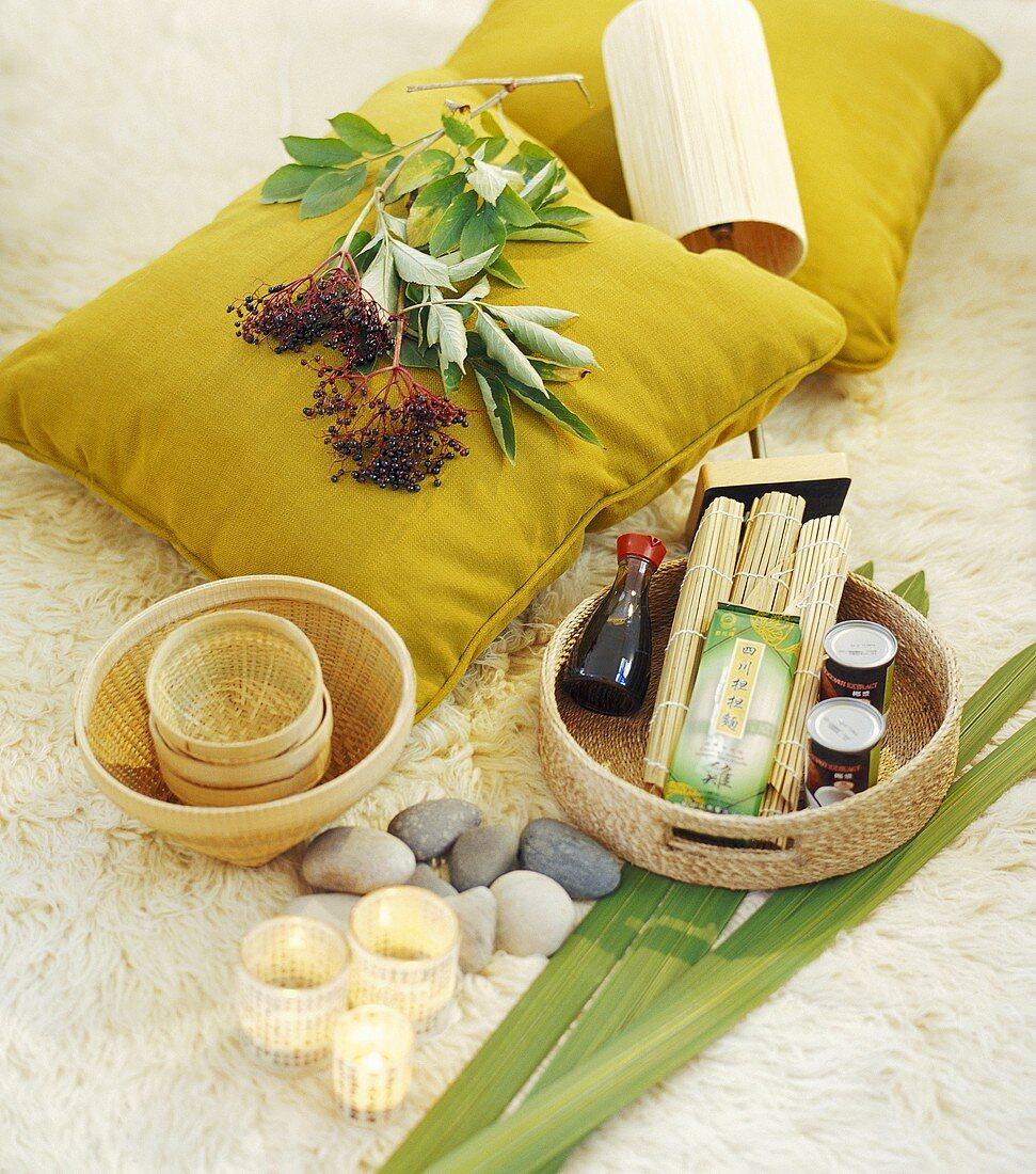 Basket of Asian ingredients, elderberries on cushion