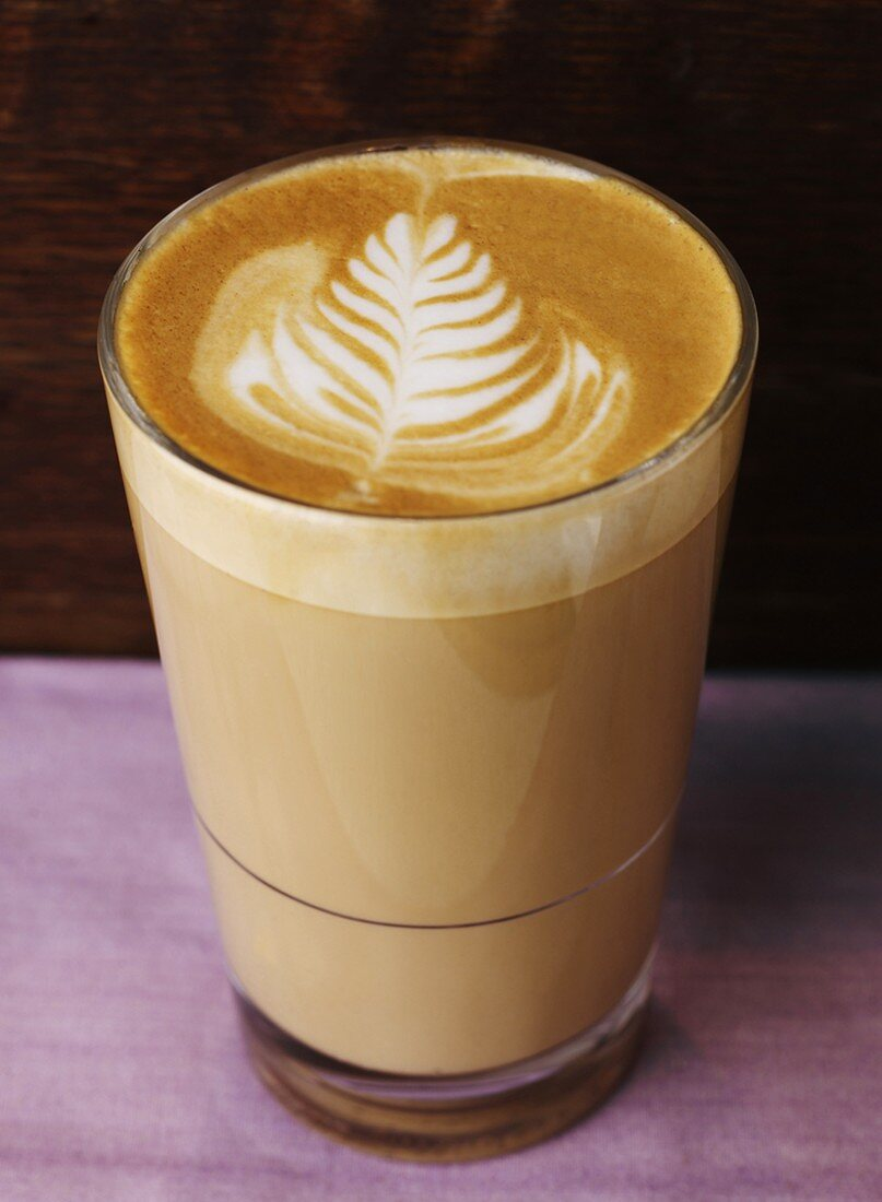 Cafe au lait in a glass