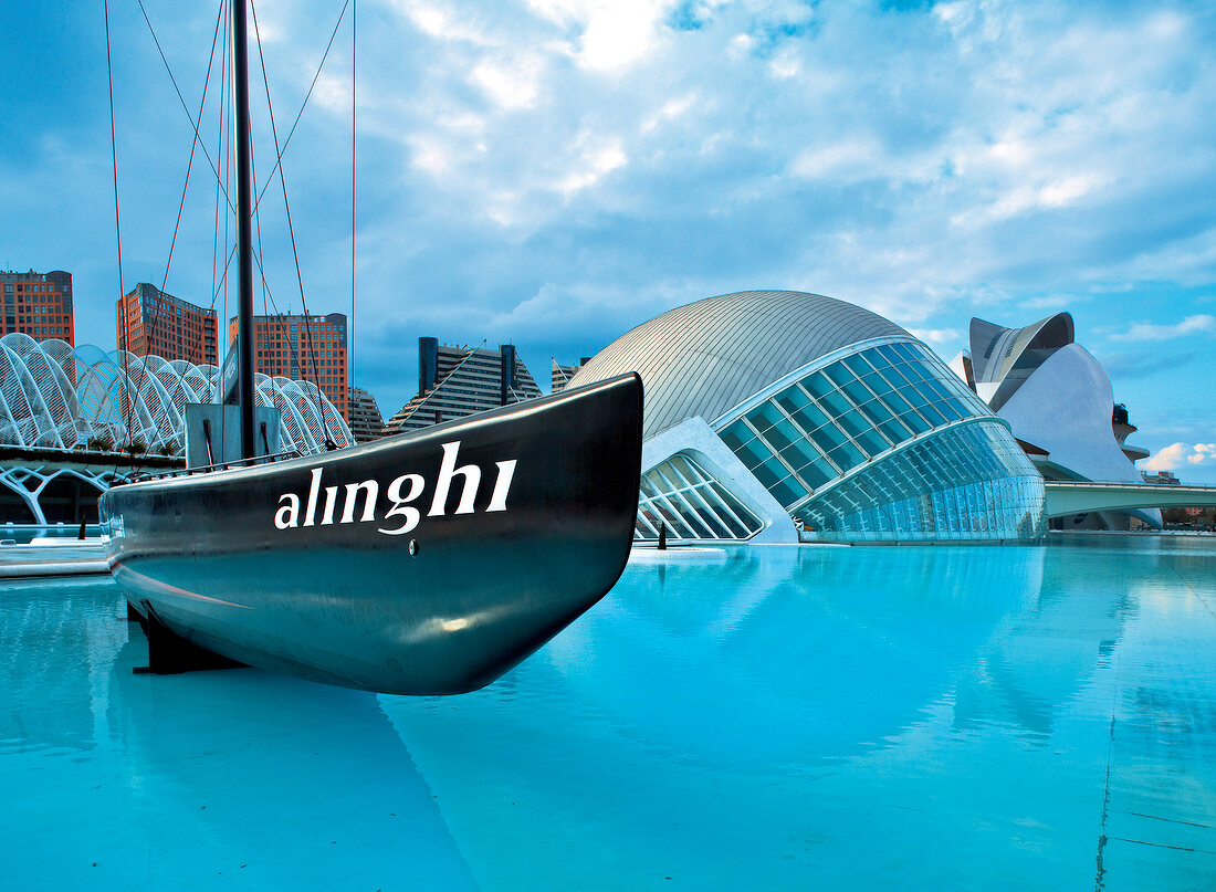 The Hemisferic and Swiss yacht Alinghi in Valencia, Spain