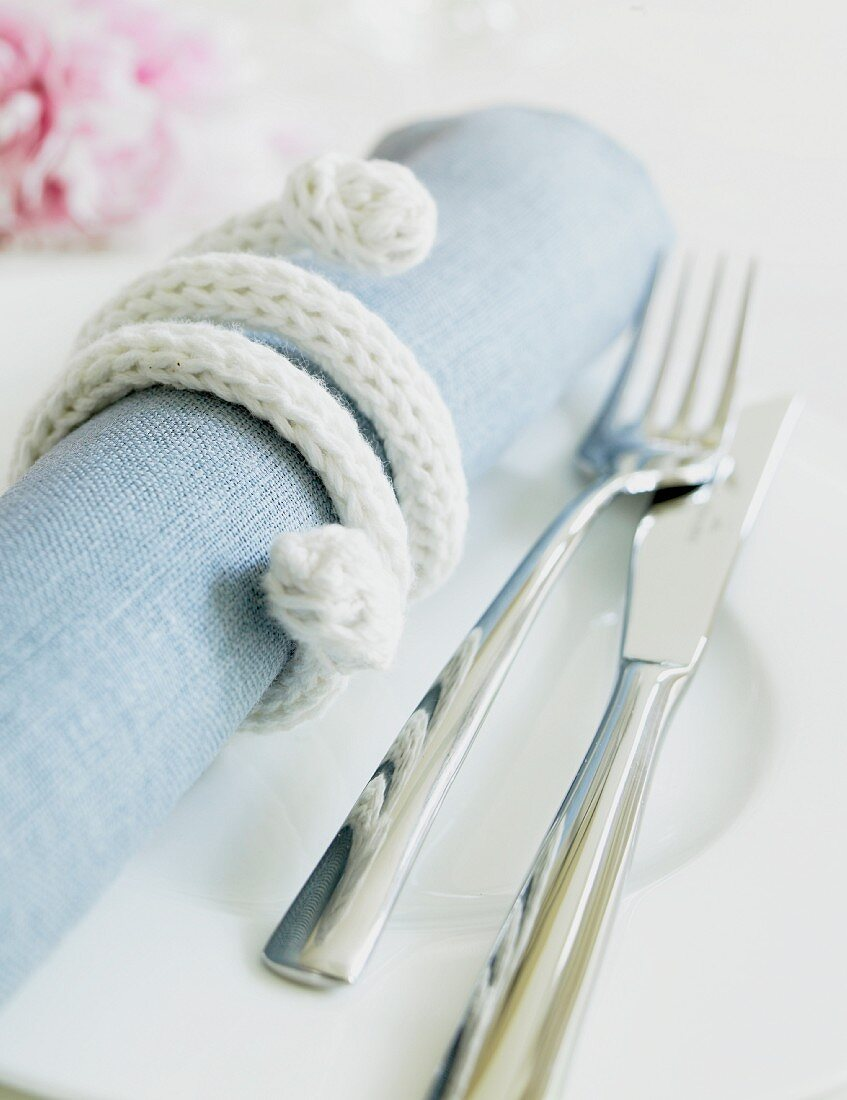 Napkin wrapped with cord and cutlery on plate
