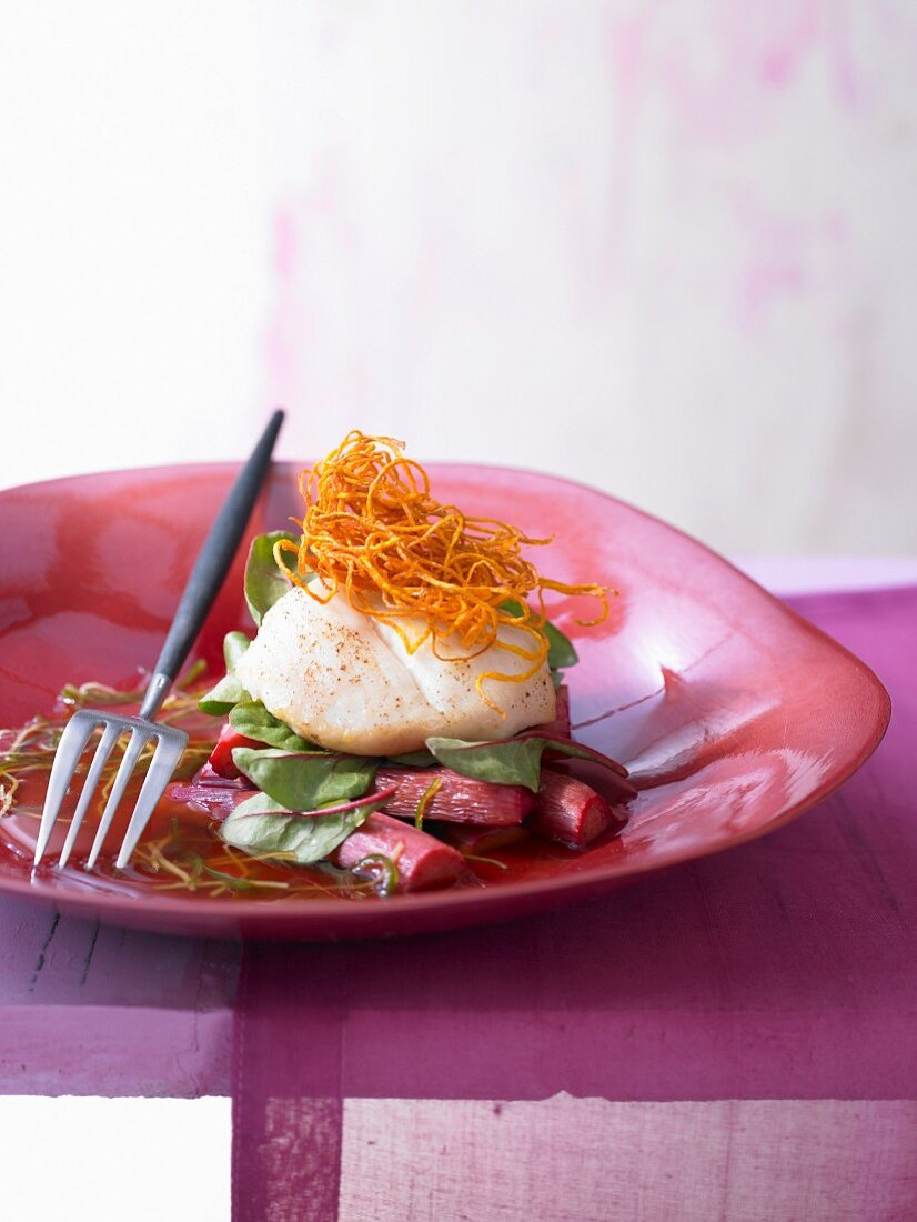 Monkfish cheeks on a bed of rhubarb