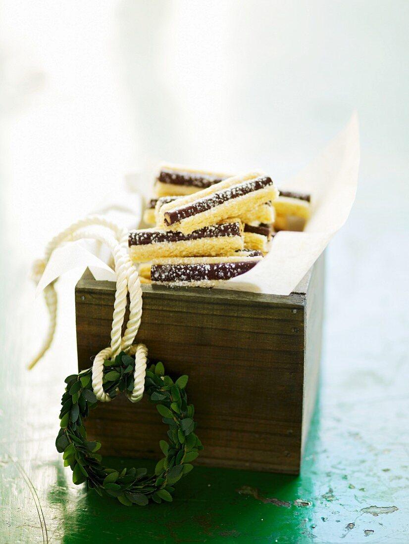 Chocolate mint stick cakes