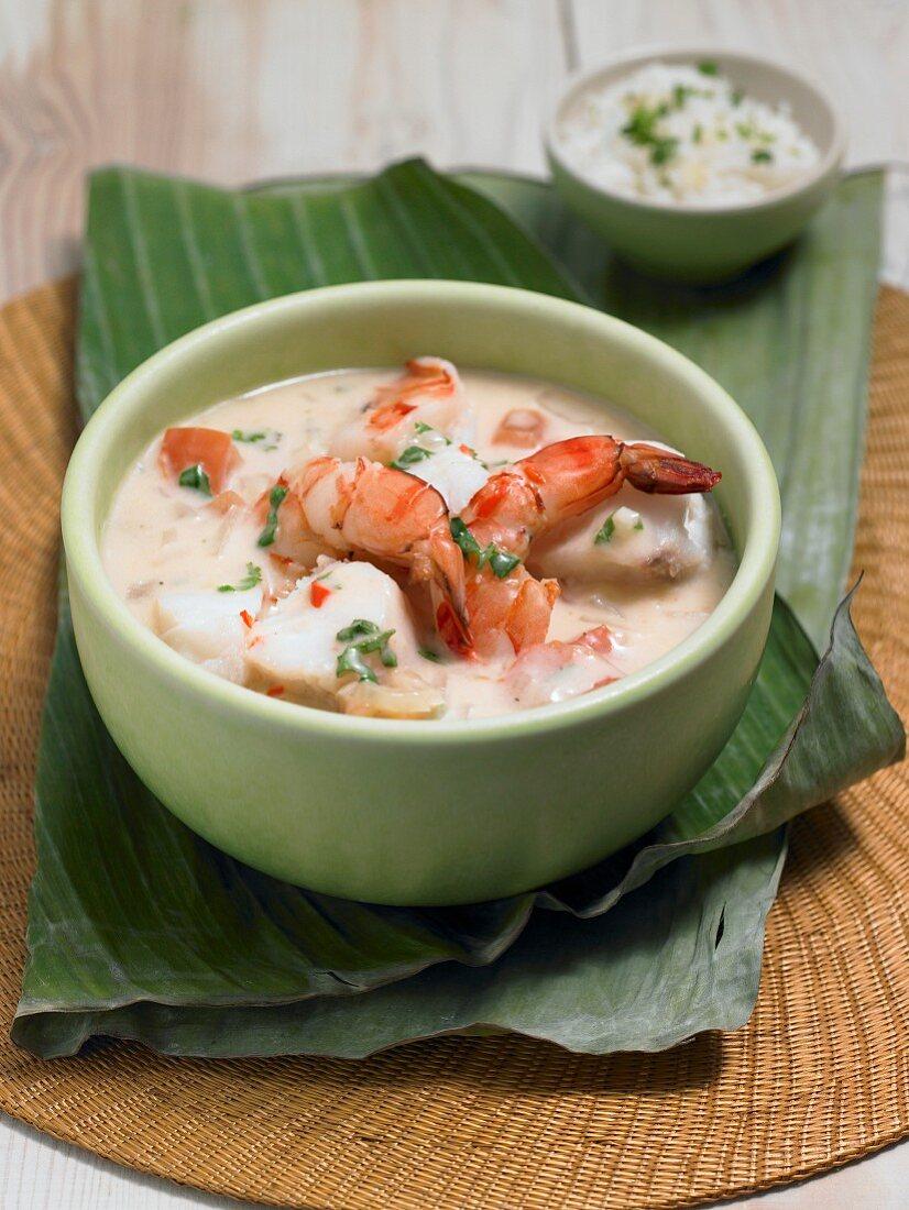 Brazilian fish stew with king prawns