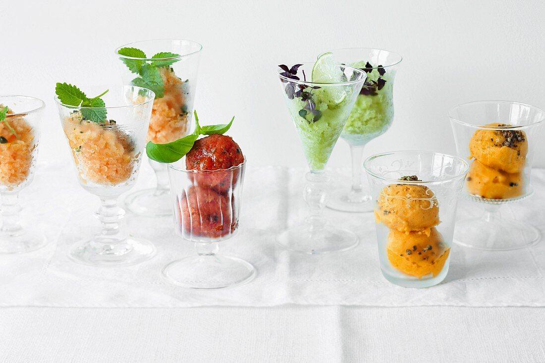 Orange granita, tomato sorbet, cucumber sorbet and mango sorbet