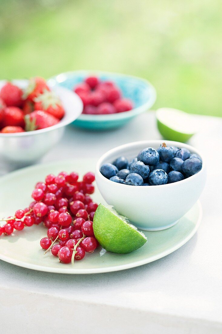 Fresh berries on a table outside
