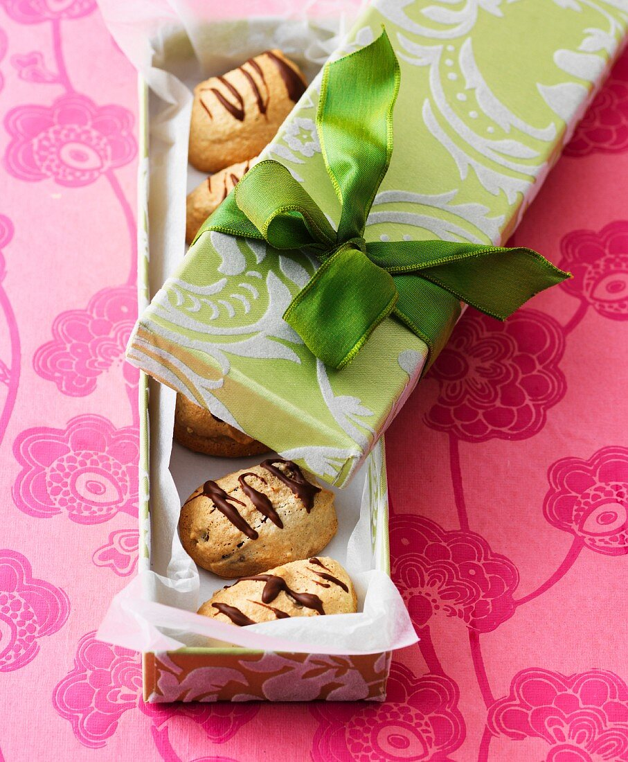 Walnut dates wrapped in pastry as a gift