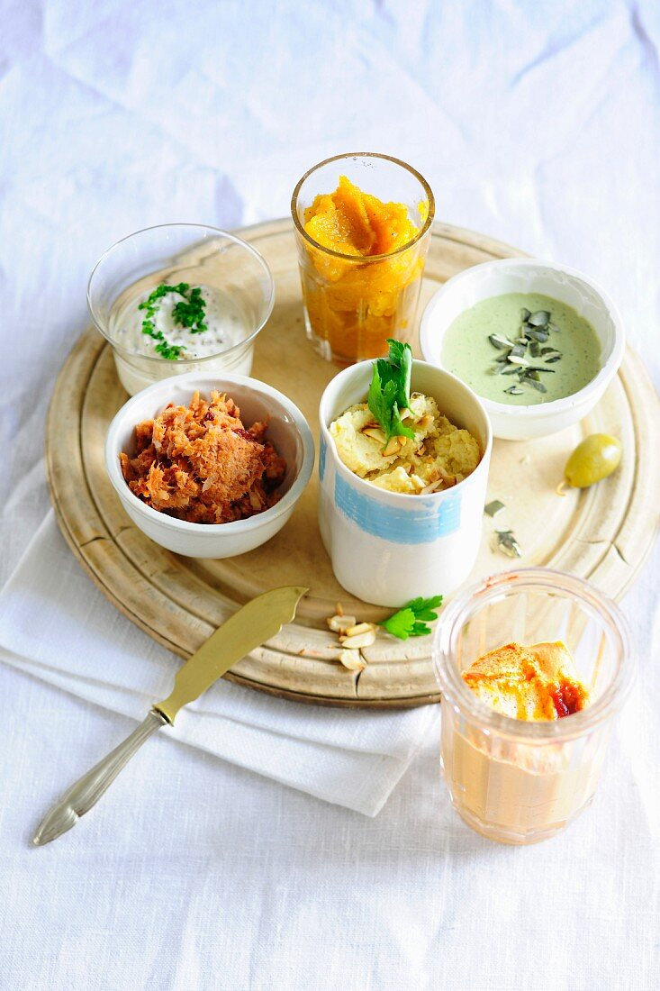 Various vegetarian spreads and pastes