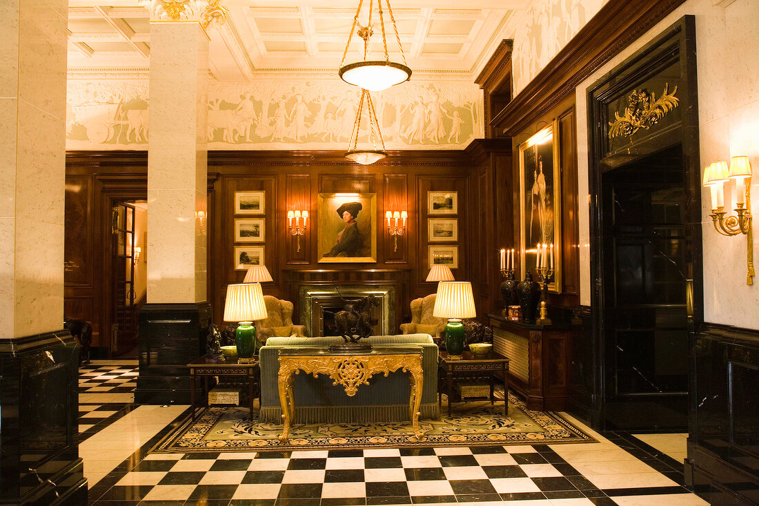 Lobby of Savoy Hotel in London, UK