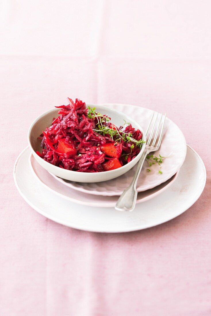 Fruity beetroot salad with apples and sharon fruit
