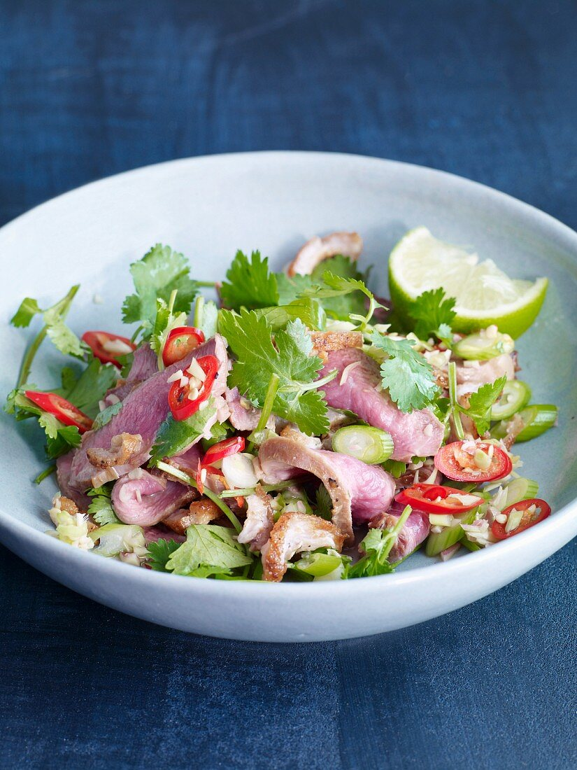 Thai duck breast salad with chilli, spring onions and coriander