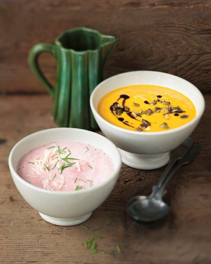 Styrian pumpkin soup and radish soup with horseradish