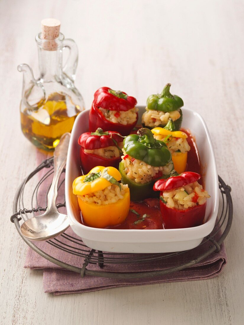 Stuffed peppers with Mediterranean risotto