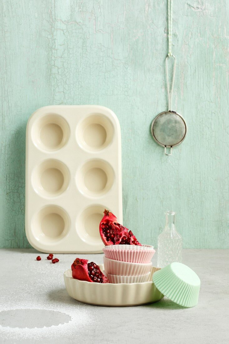 An arrangement of moulds for cakes and muffins
