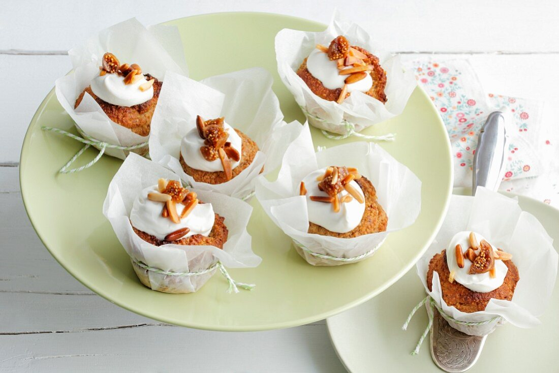 Fig cupcakes with creme fraiche