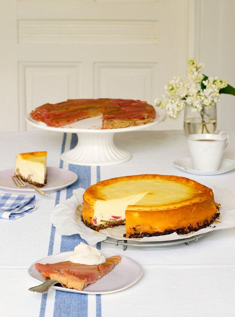 Rhubarb tart tatin and a simple cheesecake