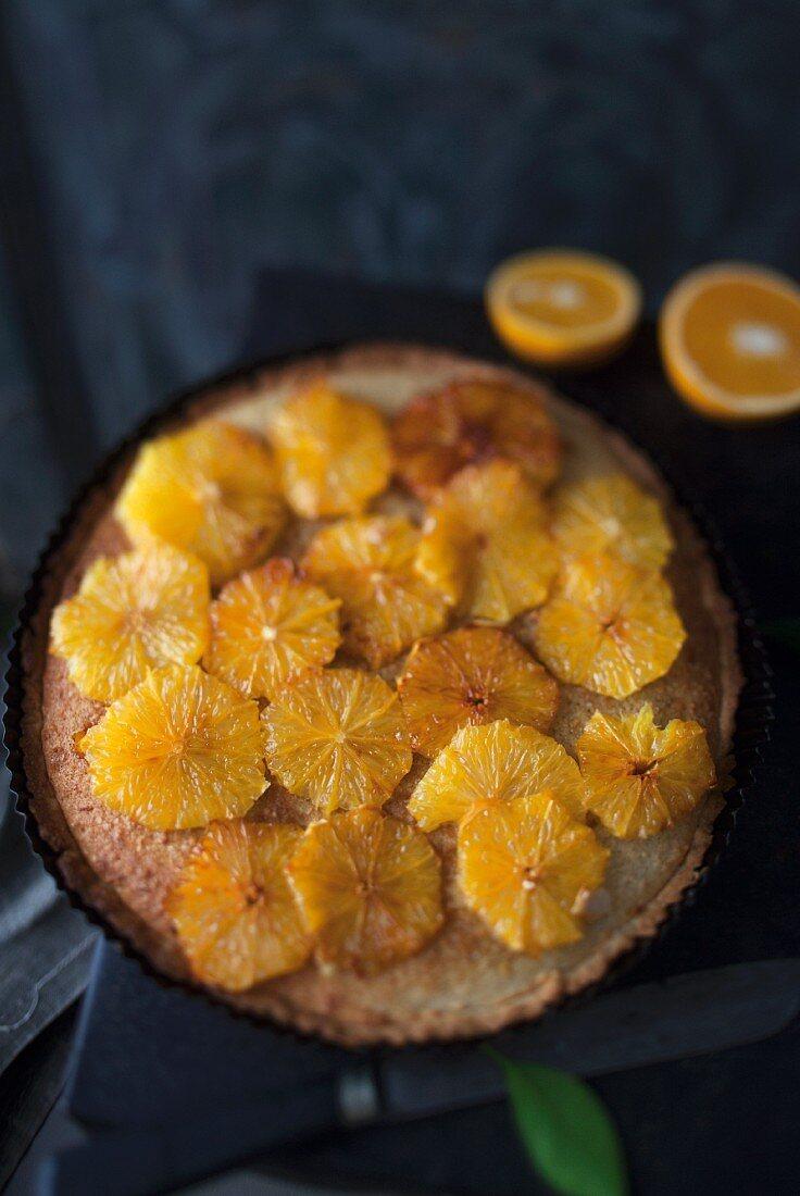 Almond tart with caramelised oranges