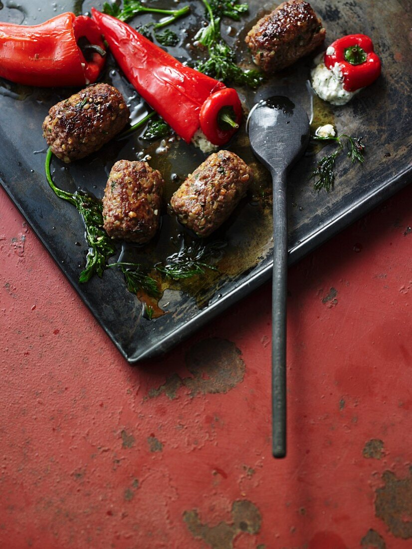 Lamb köfte and stuffed pointed peppers