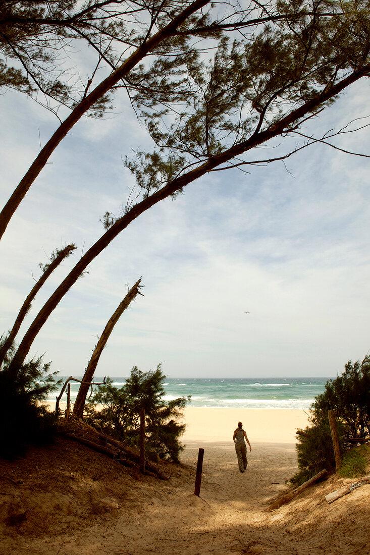 Woman walking on beach towards sea in Durban, South Africa