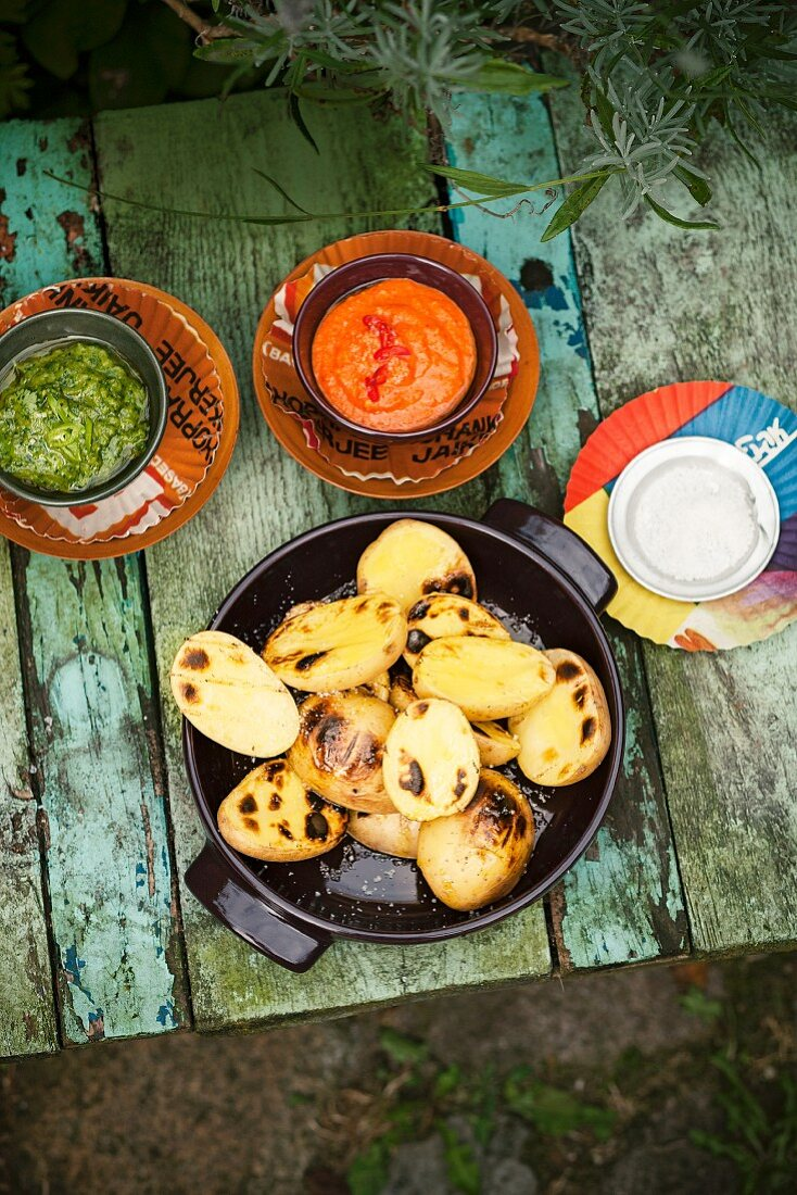 Roast potatoes with a trio of dips