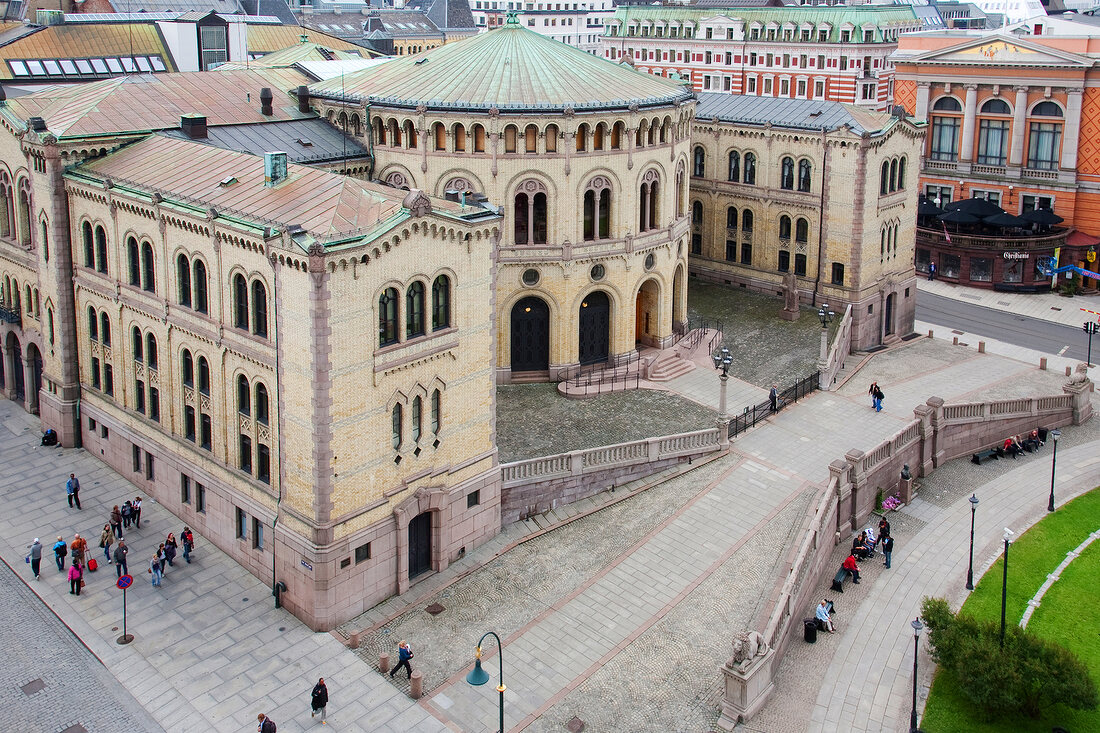 View of Storting Building in Oslo, Norway