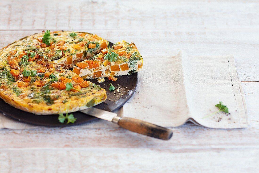 Pumpkin tortilla, sliced