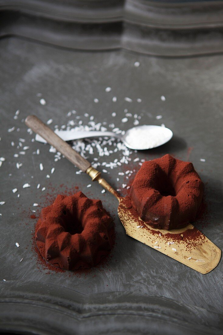 Mini coconut ice cup Bundt cakes with chocolate and cocoa powder