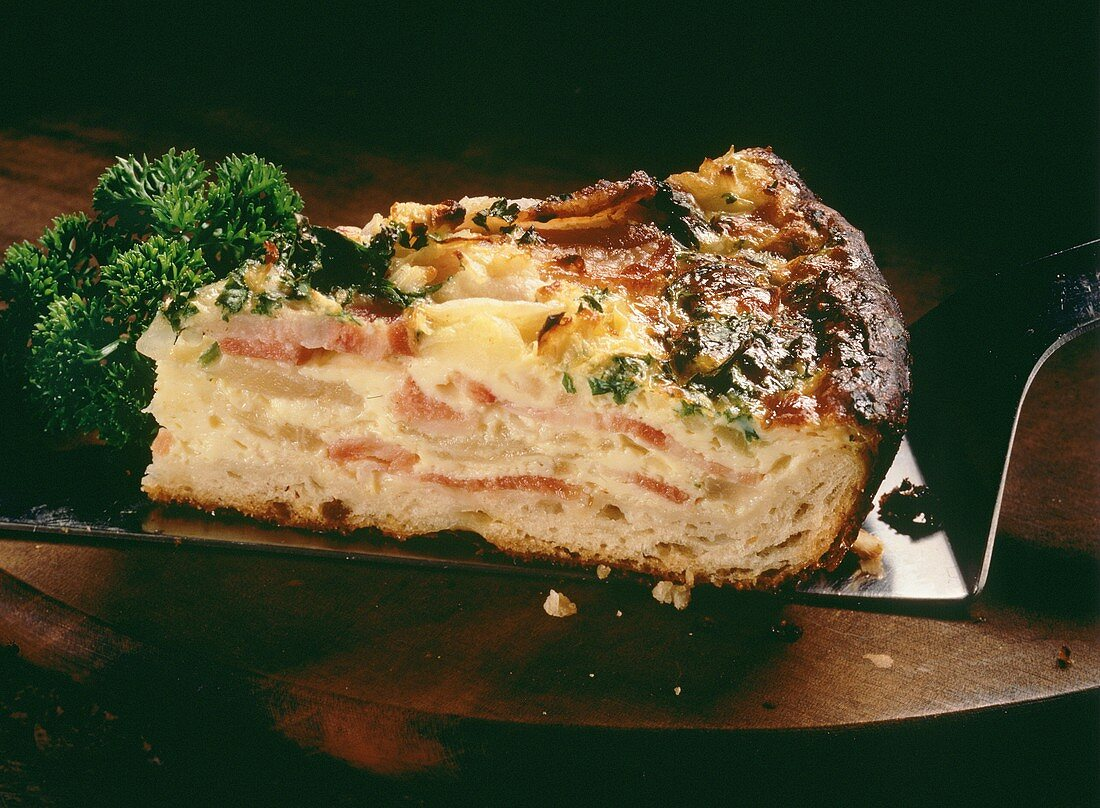 A piece of quiche Lorraine