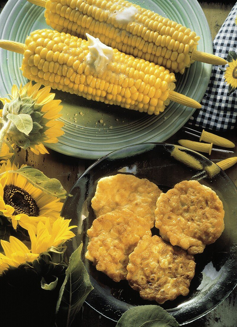 Corn on the Cob with Melting Butter; Corn Fritters