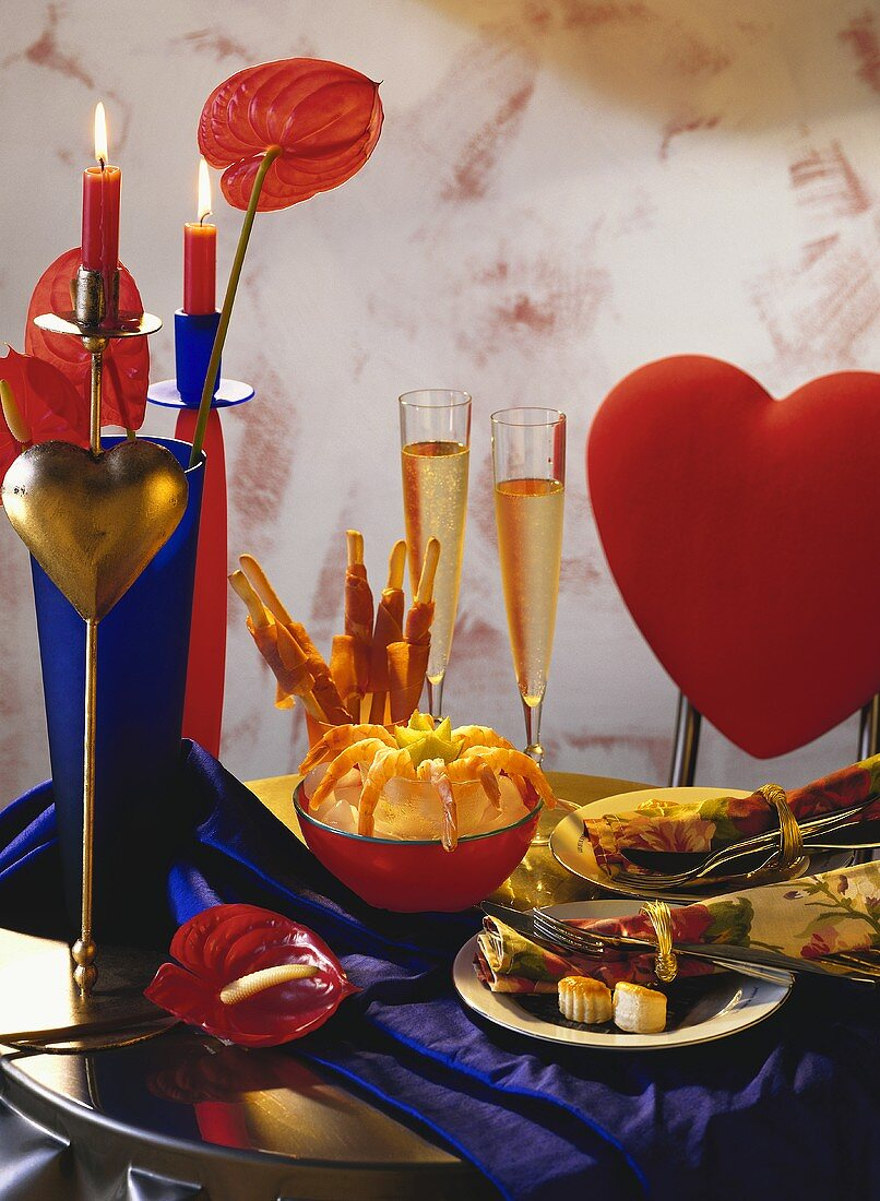 Table Set For Two on Valentine's Day