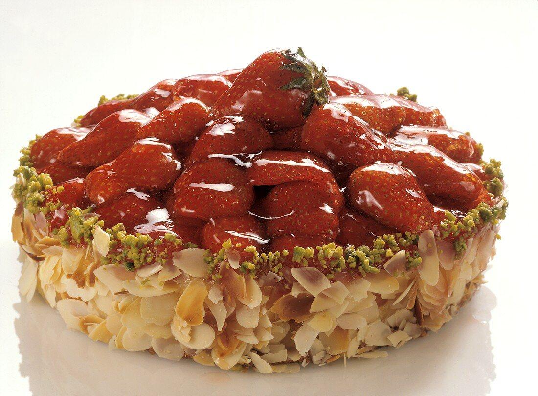 Strawberry tart with almond border