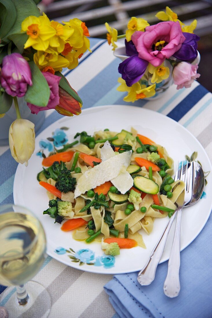 Tagliatelle with spring vegetables for Easter