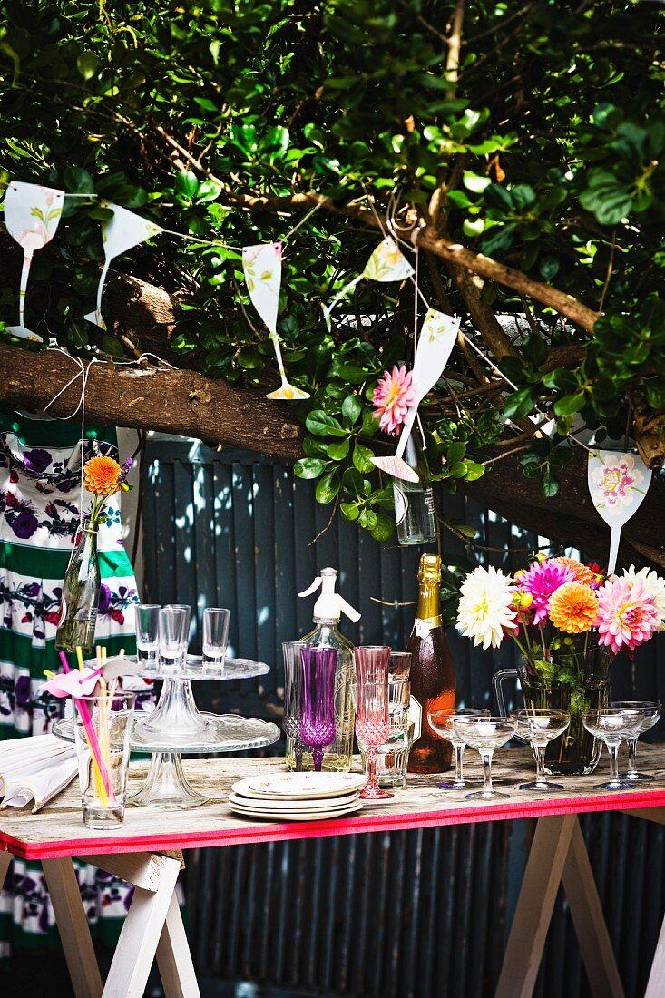 A buffet for a summer party in a garden