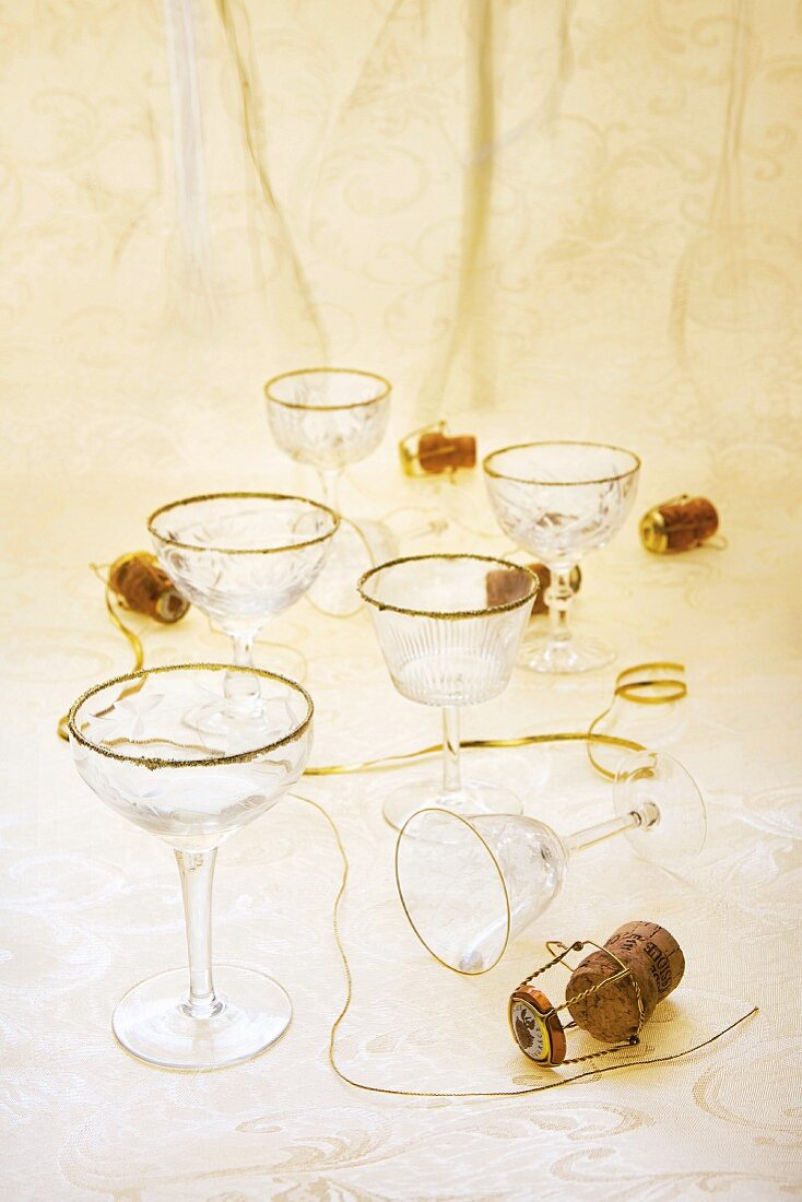 Champagne saucers and corks
