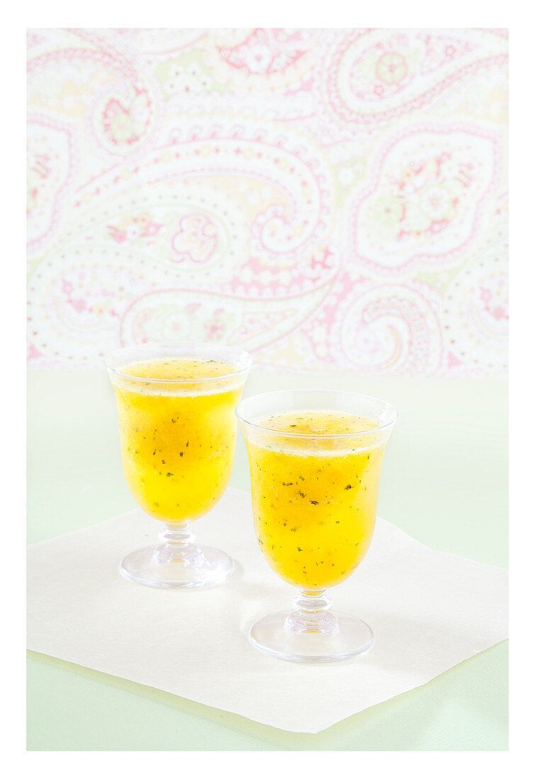 Chilled mango drink with mint