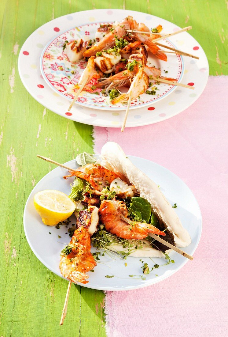 King prawn and halloumi skewers with gremolata