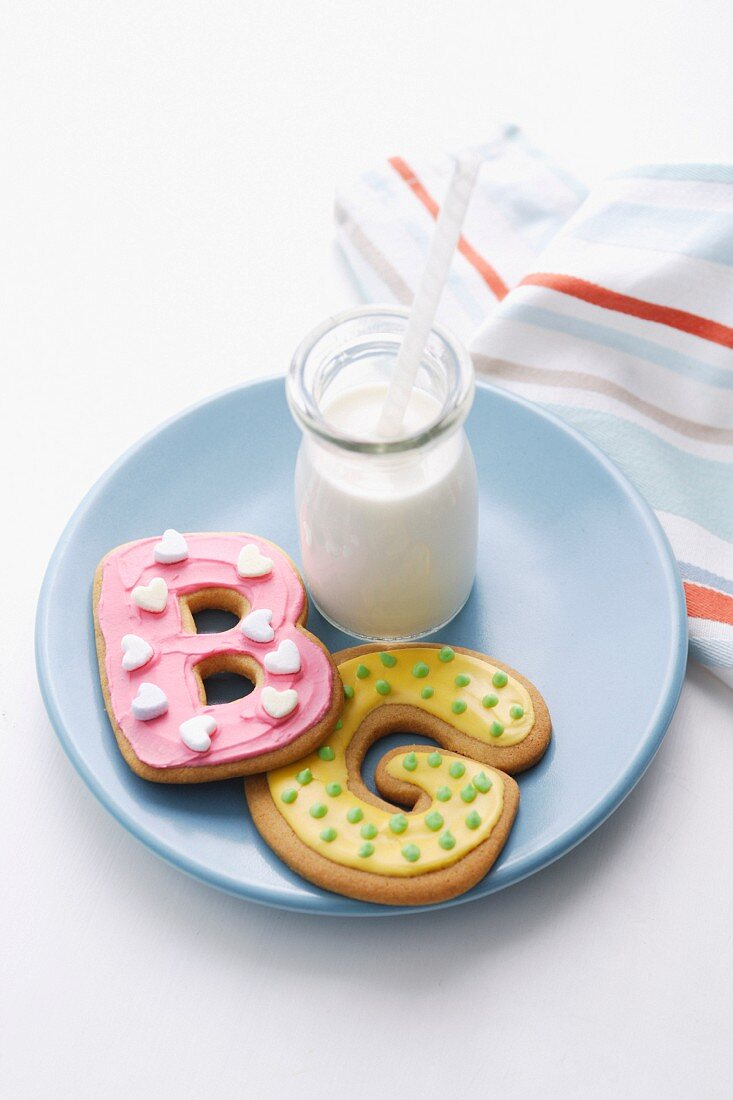Decorated cookies in letter shapes