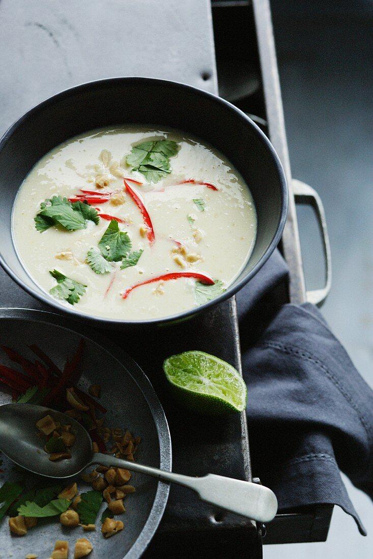 Bowl of bean coconut lime soup