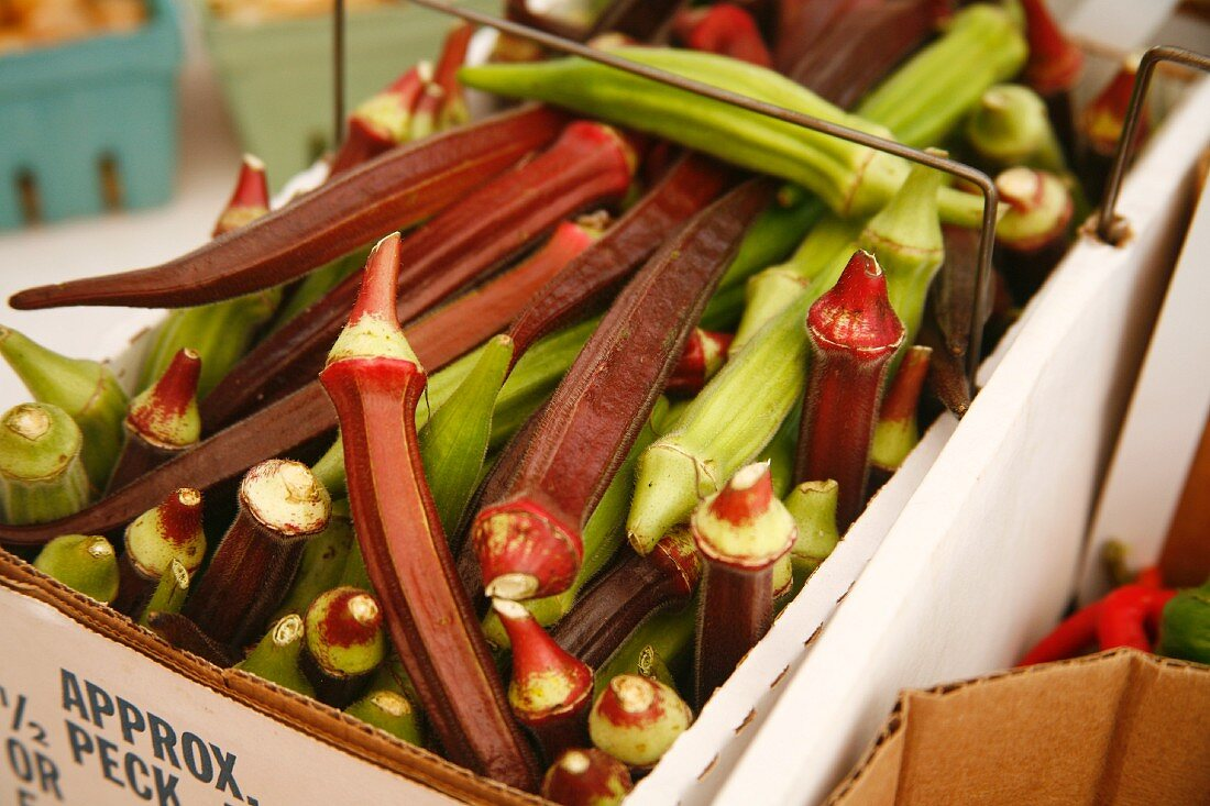 Fresh Picked Organic Red and Green Okra at a Farmers Market