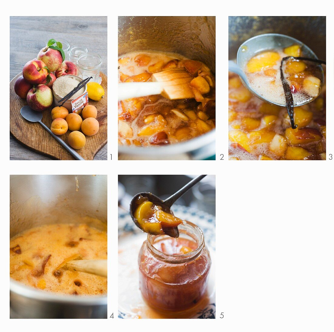 Apricot and nectarine jam being made