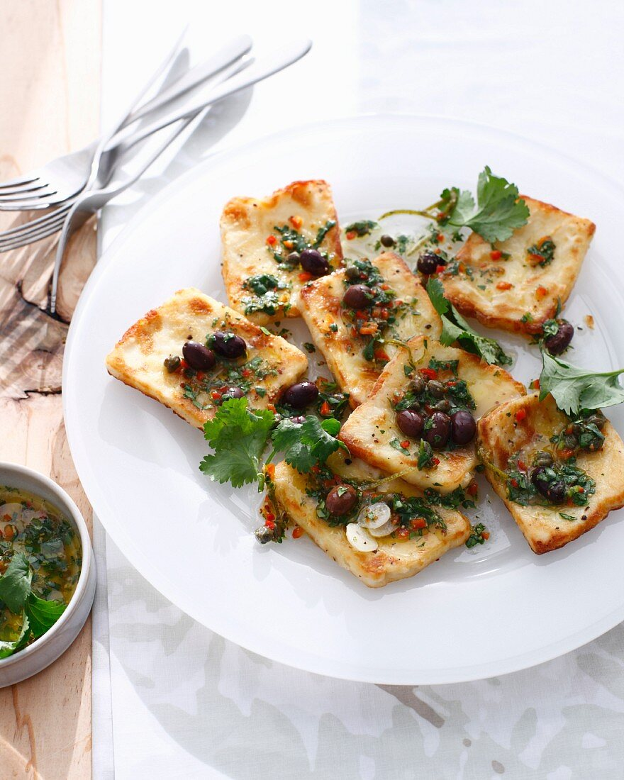 Plate of haloumi chili