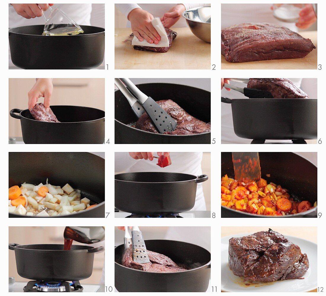 Sauerbraten (marinated pot roast) being prepared (German voice-over)