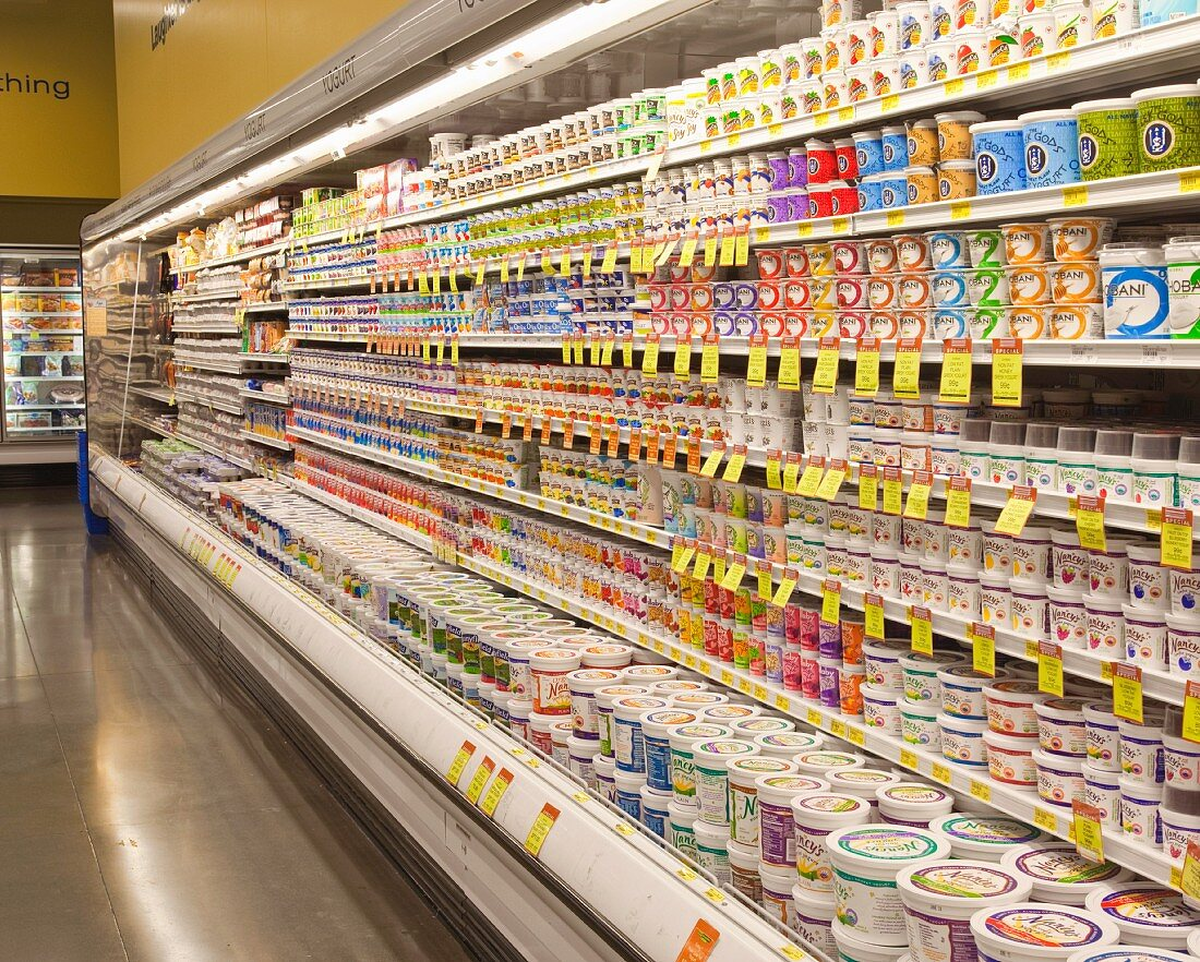 Dairy Aisle in a Grocery Store