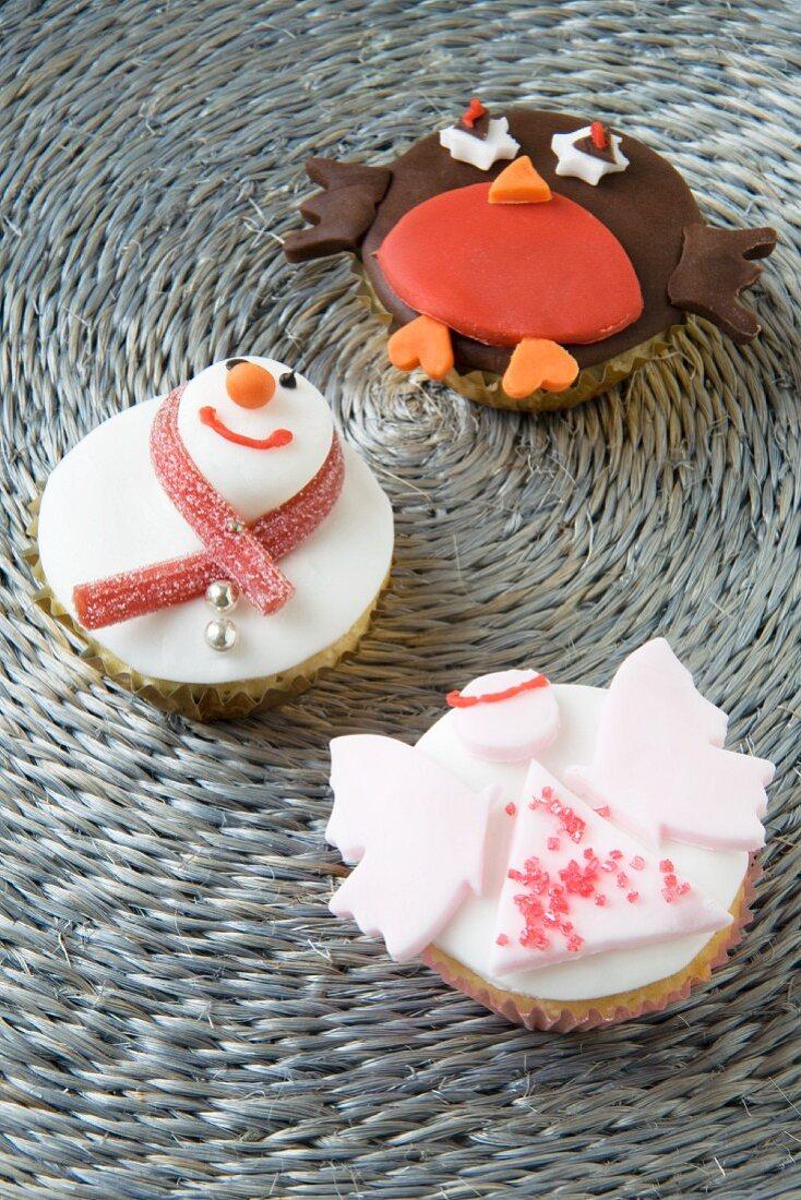 Christmas cupcakes (angel, snowman and robin)
