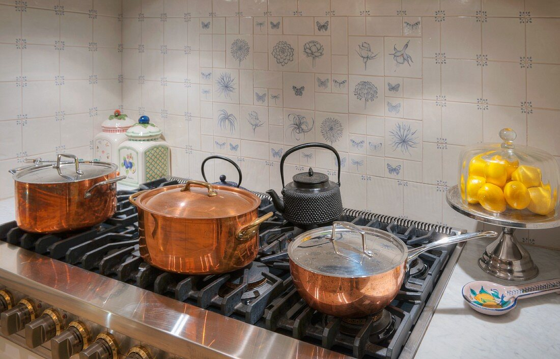 Gas Stove And Copper Pots