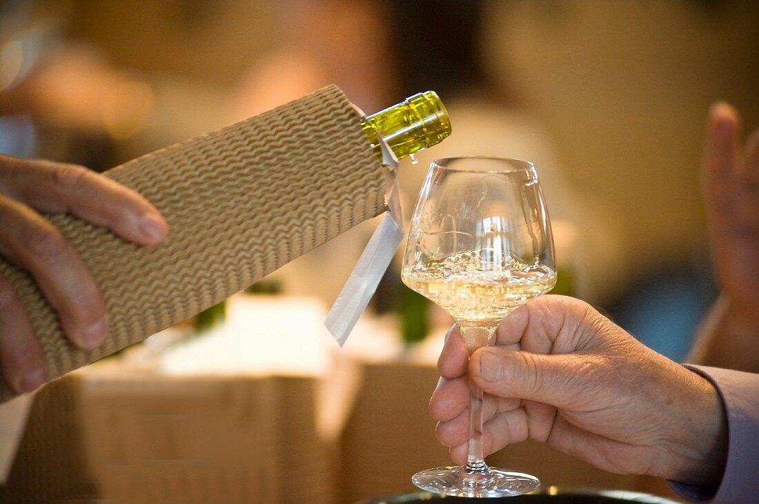 Blind wine tasting with a wrapped up wine bottle