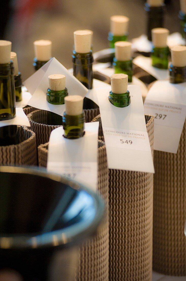 Wrapped up wine bottles, prepared for blind wine tasting