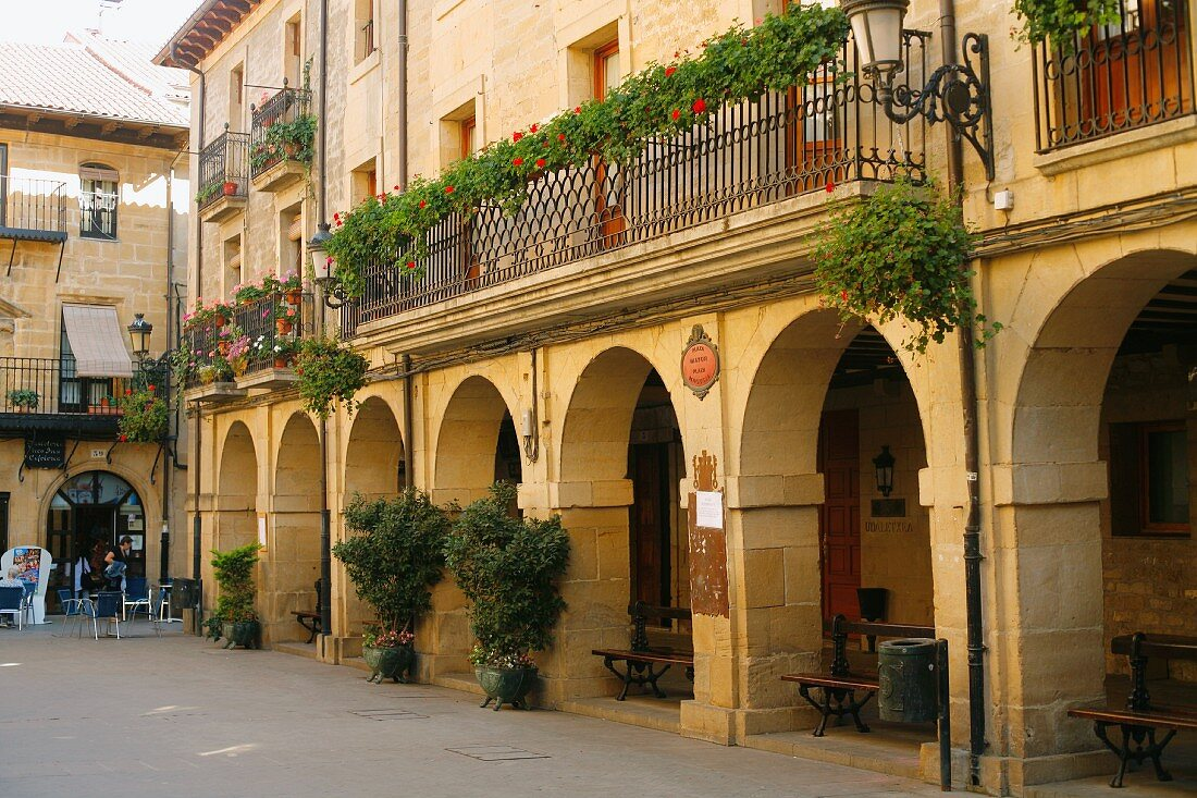 Plaza Mayor in Laguardia, Spain
