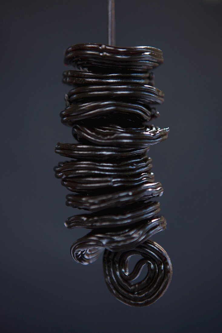 Close up of licorice wheels